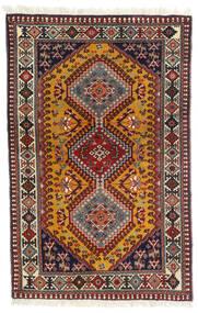 Yalameh Dywan 81X126 Orientalny Tkany Ręcznie Ciemnoczerwony/Ciemnobrązowy (Wełna, Persja/Iran)