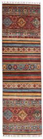 Shabargan Dywan 78X274 Nowoczesny Tkany Ręcznie Chodnik Ciemnoczerwony/Ciemnobrązowy (Wełna, Afganistan)