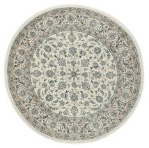 Nain 9La Dywan Ø 200 Orientalny Tkany Ręcznie Okrągły Jasnoszary/Ciemnoszary (Wełna/Jedwab, Persja/Iran)