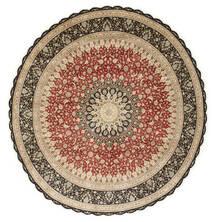 Kom Jedwab Dywan Ø 203 Orientalny Tkany Ręcznie Okrągły Jasnobrązowy/Ciemnobeżowy (Jedwab, Persja/Iran)