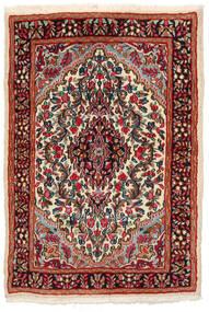 Kerman Dywan 97X141 Orientalny Tkany Ręcznie Czarny/Ciemnoczerwony (Wełna, Persja/Iran)