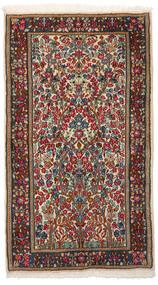 Kerman Dywan 86X153 Orientalny Tkany Ręcznie Ciemnobrązowy/Ciemnoczerwony (Wełna, Persja/Iran)