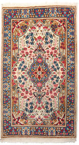 Kerman Dywan 87X152 Orientalny Tkany Ręcznie Jasnoszary/Beżowy (Wełna, Persja/Iran)