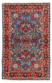 Kerman Dywan 92X149 Orientalny Tkany Ręcznie Ciemnoczerwony/Niebieski (Wełna, Persja/Iran)