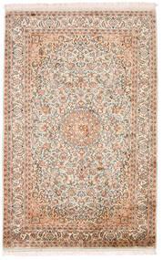 Kaszmir Czysty Jedwab Dywan 98X152 Orientalny Tkany Ręcznie Beżowy/Ciemnobrązowy (Jedwab, Indie)