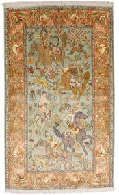 Kaszmir Czysty Jedwab Dywan 93X155 Orientalny Tkany Ręcznie Ciemnobeżowy/Brązowy (Jedwab, Indie)