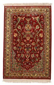 Kaszmir Czysty Jedwab Dywan 62X95 Orientalny Tkany Ręcznie Ciemnoczerwony/Ciemnobrązowy (Jedwab, Indie)