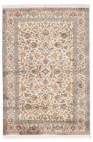 Kaszmir Czysty Jedwab Dywan 126X184 Orientalny Tkany Ręcznie Jasnoszary/Żółty (Jedwab, Indie)