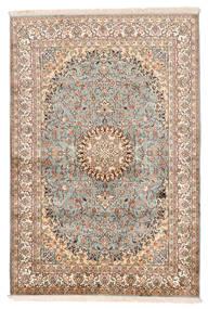 Kaszmir Czysty Jedwab Dywan 127X188 Orientalny Tkany Ręcznie Beżowy/Ciemnobrązowy (Jedwab, Indie)