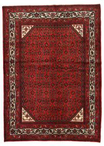 Hosseinabad Dywan 146X205 Orientalny Tkany Ręcznie Ciemnoczerwony/Rdzawy/Czerwony (Wełna, Persja/Iran)