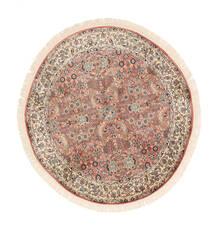 Kaszmir Czysty Jedwab Dywan Ø 129 Orientalny Tkany Ręcznie Okrągły Biały/Creme/Ciemnobrązowy (Jedwab, Indie)