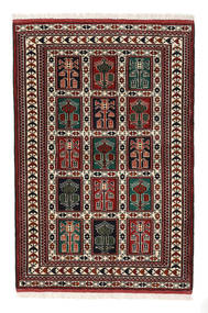 Turkmeński Dywan 98X146 Orientalny Tkany Ręcznie Ciemnobrązowy/Ciemnoczerwony (Wełna, Persja/Iran)