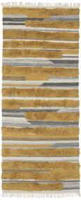 Sunny - Żółty Dywan 100X250 Nowoczesny Tkany Ręcznie Chodnik Brązowy/Ciemnobrązowy (Wełna, Indie)