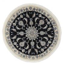 Nain Dywan Ø 100 Orientalny Tkany Ręcznie Okrągły Biały/Creme/Czarny (Wełna, Persja/Iran)