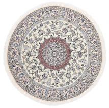 Nain 9La Dywan Ø 145 Orientalny Tkany Ręcznie Okrągły Biały/Creme/Jasnoszary (Wełna/Jedwab, Persja/Iran)