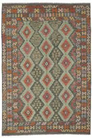 Kilim Afgan Old Style Dywan 200X291 Orientalny Tkany Ręcznie Ciemnozielony/Ciemnobrązowy (Wełna, Afganistan)