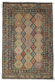 Kilim Afgan Old Style Dywan 203X300 Orientalny Tkany Ręcznie Ciemnozielony/Czarny/Ciemnobrązowy (Wełna, Afganistan)