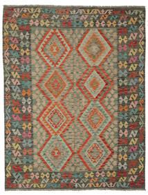 Kilim Afgan Old Style Dywan 180X231 Orientalny Tkany Ręcznie Ciemnozielony/Ciemnobrązowy (Wełna, Afganistan)