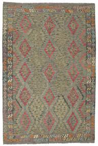 Kilim Afgan Old Style Dywan 200X295 Orientalny Tkany Ręcznie Ciemnozielony/Ciemnobrązowy (Wełna, Afganistan)